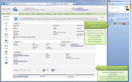 intelli-CTi for Sage CRM screenshot - telephony integration